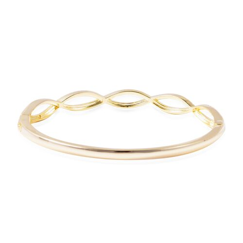 J Francis - Crystal from Swarovski White Crystal (Rnd) Bangle (Size 7.5) in Yellow Gold Tone
