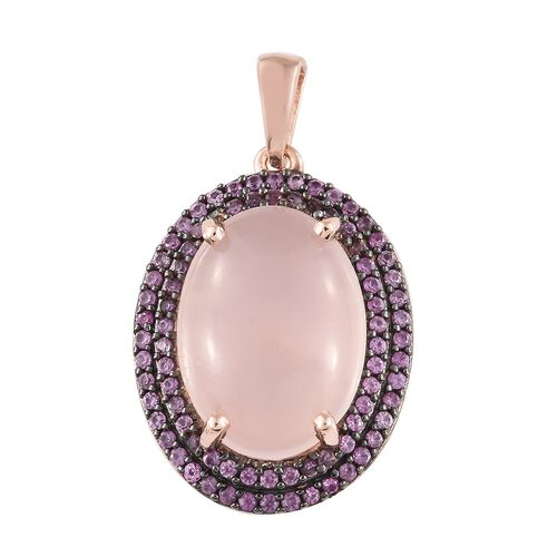 13.50 Carat Rose Quartz and Pink Sapphire Pendant in Rose Gold Plated Silver