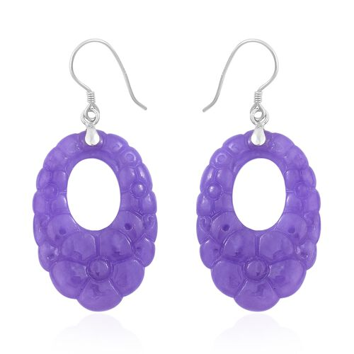 Limited Edition-Hand Carved Purple Jade Hook Earrings in Rhodium Plated Sterling Silver 43.600 Ct.