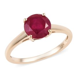 9K Yellow Gold AA African Ruby (Rnd 7 mm) Solitaire Ring 2.00 Ct.