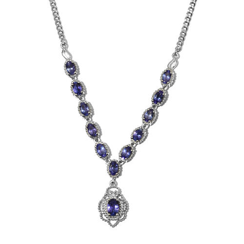 AAA Tanzanite Necklace (Size 18) in Platinum Overlay Sterling Silver 3.25 Ct, Silver wt. 10.80 Gms