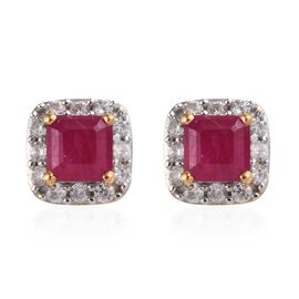 African Ruby (Oct), Natural Cambodian Zircon Earrings (with Push Back) in 14K Gold Overlay Sterling