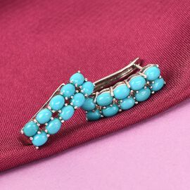 Arizona Sleeping Beauty Turquoise Earrings in Platinum Overlay Sterling Silver 3.000 Ct.