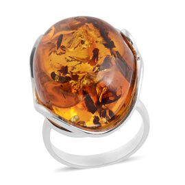 Baltic Amber Solitaire Ring in Sterling Silver 6 Grams