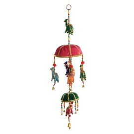 Home Decor - 2 Tier Handmade Bamboo Basket and Horse Motif and Bells Hanging - Multicolour