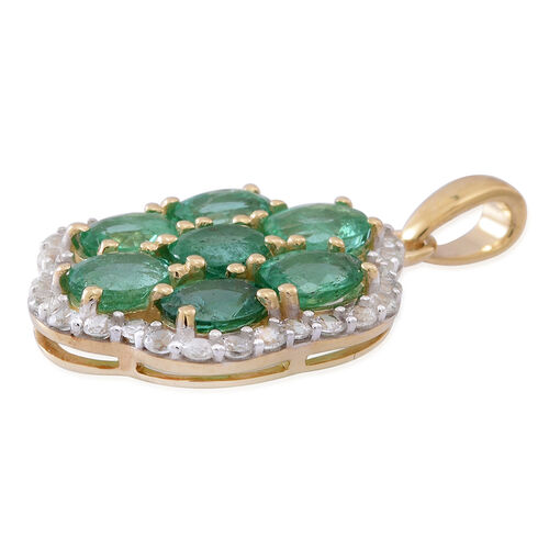 9K Yellow Gold AA Kagem Zambian Emerald (Ovl), Natural White Cambodian Zircon Pendant 2.750 Ct.