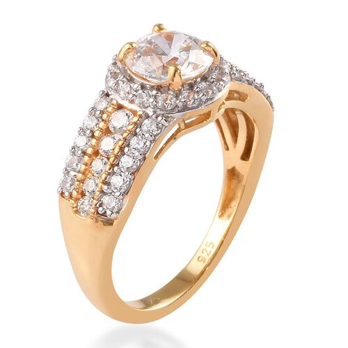 J Francis - 14K Gold Overlay Sterling Silver Ring Made with SWAROVSKI ZIRCONIA Equivalent Carat Wt. 2.85 Ct.
