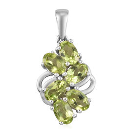 3 Carat Hebei Peridot Cluster Pendant in Platinum Plated Sterling Silver