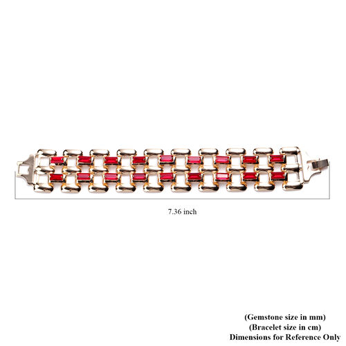 Simulated Ruby Bracelet (Size 7.25) in Gold Tone