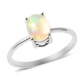Ethiopian Welo Opal and Boulder Opal Interchangeable Main Stone Ring in Rhodium Overlay Sterling Sil