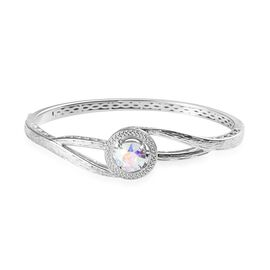 J Francis AB Crystal from Swarovski Bangle in Platinum Plated 7.5 Inch