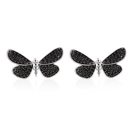 Boi Ploi Black Spinel (Rnd) Butterfly Earrings (with Push Back) in Platinum and Black Overlay Sterling Silver 0.750 Ct.