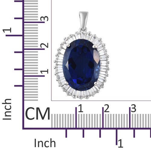 Ceylon Colour Quartz (Ovl 13.65 Ct), Natural Cambodian Zircon Pendant in Platinum Overlay Sterling Silver 16.500 Ct.