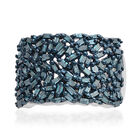 Designer Inspired - Firecracker Blue Diamond (Bgt) Cluster Ring (Size M) in Blue and Platinum Overlay Sterlin