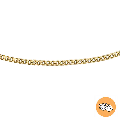 Italian Made Chain for Girls with Diamond Cut Curb in 9K Gold (Size 14 Inch)
