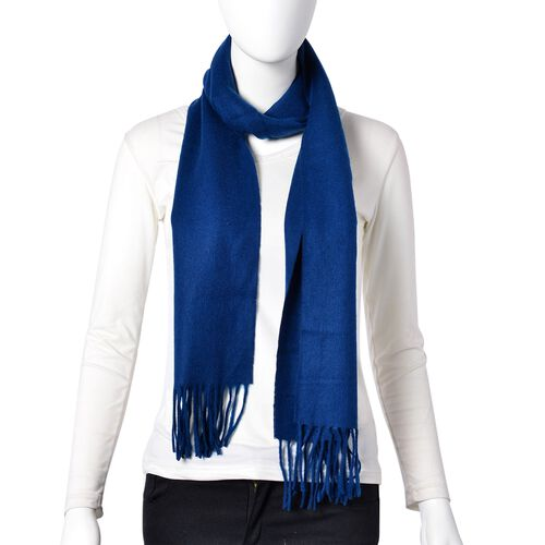 Super Soft 100% Wool Navy Colour Scarf with Tassels (Size 180X30 Cm)