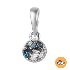 Blue and White Diamond Pendant in Platinum Overlay Sterling Silver 0.04 Ct.