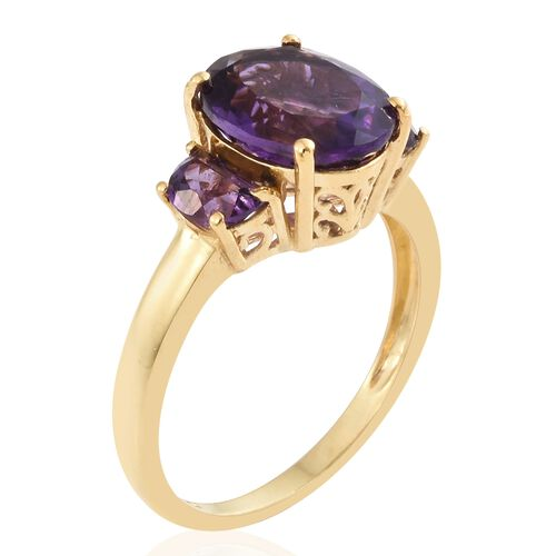 Limited Edition- Amethyst (Ovl 12X10mm 4.10 Ct) Ring with D- Shape Amethyst  in 14K Gold Overlay Sterling Silver 5.000 Ct.