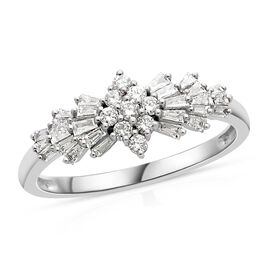 ILIANA 18K White Gold IGI Certified Diamond (Bgt and Rnd) (SI/G-H) Ring 0.50 Ct.