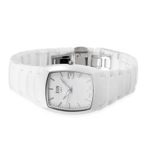 EON 1962 Swiss Movement 3ATM Water Resistant Watch with Arch Bridge Glass and White Ceramic Strap