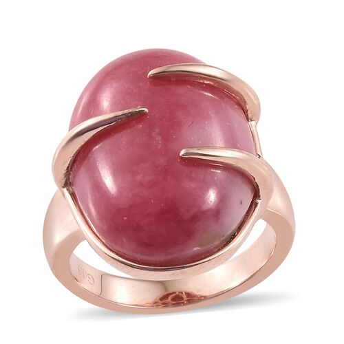 Zaire Rhodonite (Ovl) Ring in Rose Gold Plated 21.000 Ct