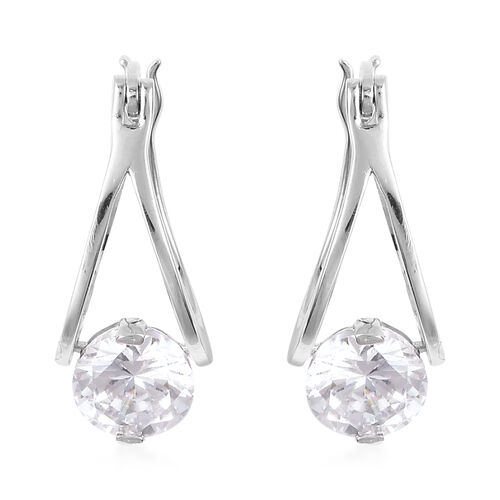 ELANZA Simulated Diamond Drop Soliraire Earrings in Rhodium Plated Sterling Silver