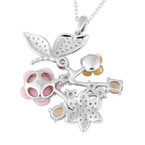 Jardin Collection - Pink and Yellow Mother of Pearl, Ethiopian Welo Opal and Natural White Cambodian Zircon Pendant With Chain (Size 18) in Rhodium Overlay Sterling Silver