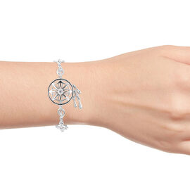 LucyQ Zircon Dream Catcher Bracelet in Rhodium Plated Sterling Silver 7 with 1 inch Extender