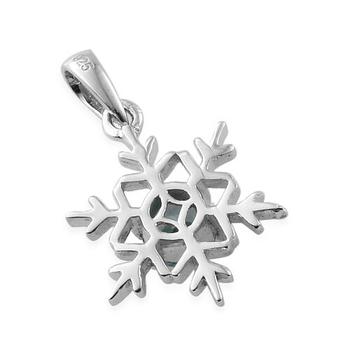 Simulated Blue Topaz (Rnd) Snowflake Pendant in Platinum Overlay Sterling Silver