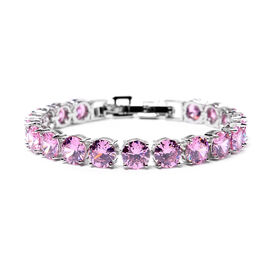 Simulated Pink Sapphire Bracelet (Size 8 with Extender) in Silver Tone