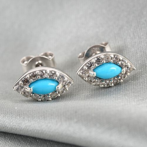 Arizona Sleeping Beauty Turquoise and Natural Cambodian Zircon Stud Earring in Platinum Overlay Ster