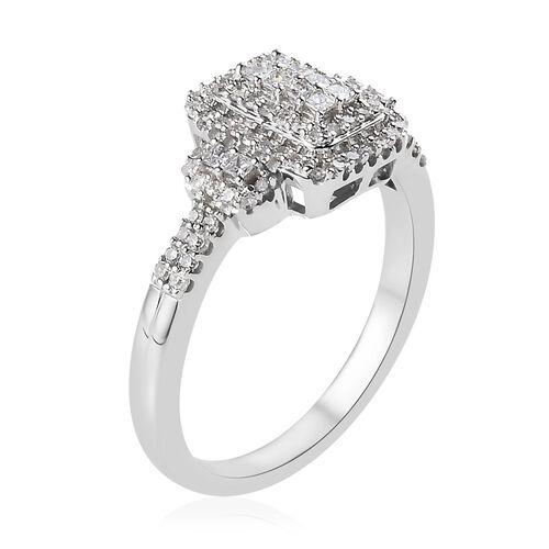 14K White Gold SGL Certified Diamond (Rnd and Sqr) (I1-I2/G-H) Ring 0.50 Ct.