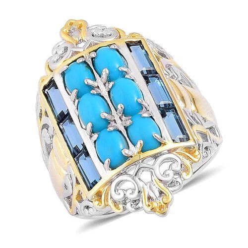 Arizona Sleeping Beauty Turquoise (Ovl), London Blue Topaz Ring in Rhodium and Yellow Gold Overlay S