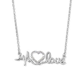 Diamond Heart and Heartbeat Necklace (Size 18) in Platinum Overlay Sterling Silver