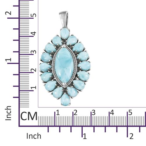 Larimar (Mrq 7.50 Ct) Pendant in Platinum Overlay Sterling Silver 20.000 Ct. Silver wt 7.56 Gms.