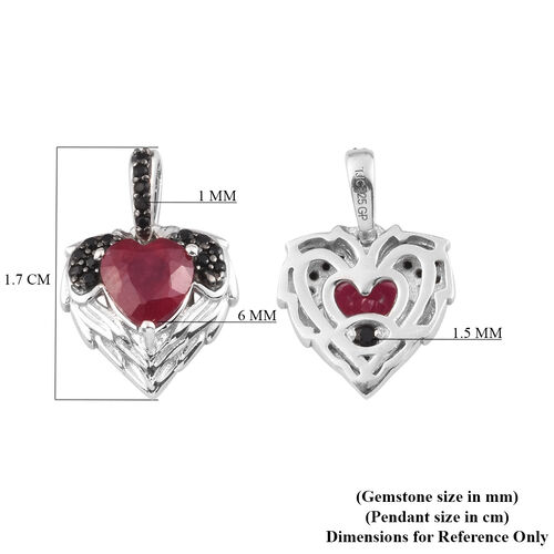 GP African Ruby, Boi Ploi Black Spinel and Blue Sapphire Pendant in Platinum Overlay Sterling Silver 1.373 Ct.