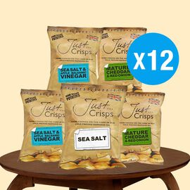 Just Crisps 12 x 150g Classic Big pack 4 Sea Salt, 4 Cheese & Onion, 4 Salt & Vinegar