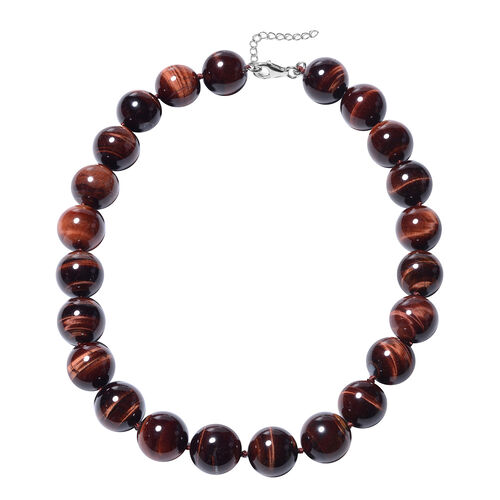 Red Tiger Eye Beaded Necklace in Rhodium Plated Silver 20 with 2 inch Extender