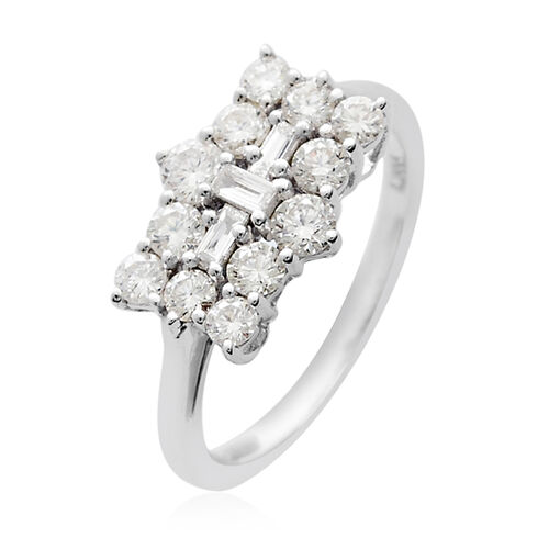RHAPSODY 950 Platinum IGI Certified Diamond (Rnd and Bgt) (VS/E-F) Boat Ring 1.00 Ct, Platinum wt. 4.70 Gms