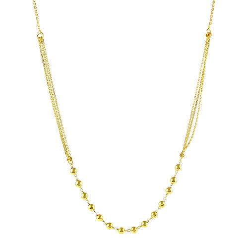 14K Gold Overlay Sterling Silver Adjustable Necklace (Size 20)