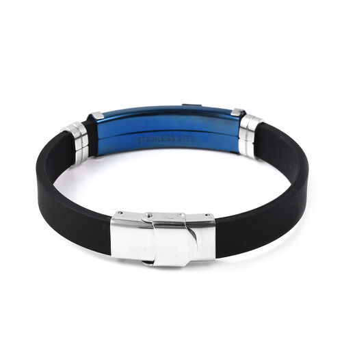 Mens Adjustable Bracelet (Size 8) with Blue Plated Cross in Stainless Steel - Cross Blue