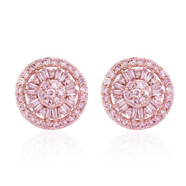 9K Rose Gold Pink Diamond (Rnd) Stud Earrings (with Push Back) 1.000 Ct, Number of Diamond 104