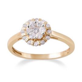 9K Y Gold SGL CERTIFIED Diamond (Rnd) (I3 / G-H) Ring 0.50 Ct.