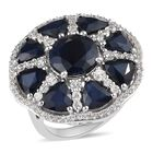 AAA Kanchanaburi Blue Sapphire, Natural Cambodian Zircon Ring (Size O) in Platinum Overlay Sterling Silver 11