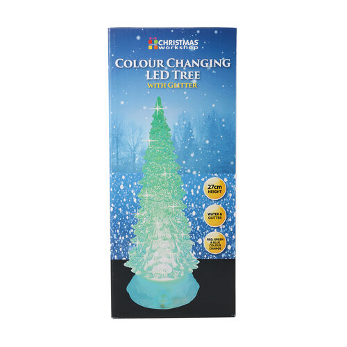 27cm Xmas Colour Changing LED Water & Glitter Tree