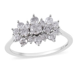 9K W Gold SGL Certified Diamond (I3/G-H) Cluster Boat Ring 1.000 Ct.