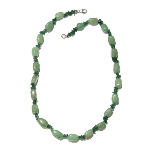 Green Aventurine Necklace (Size 20) with Lobster Lock in Platinum Overlay Sterling Silver 192.000 Ct