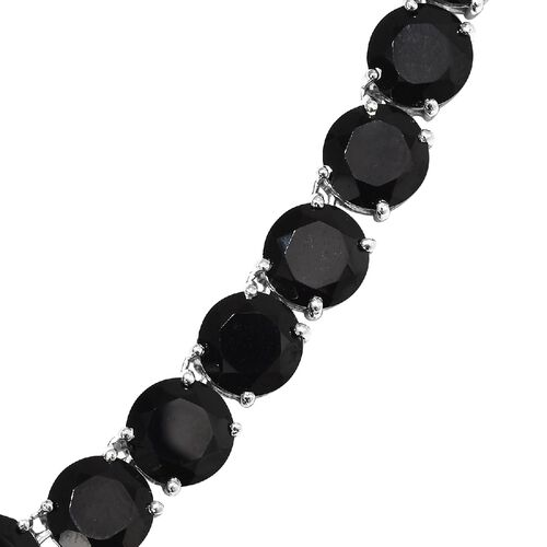 Boi Ploi Black Spinel (Rnd) Necklace (Size 20) in Platinum Overlay Sterling Silver 183.50 Ct, Silver wt 45.00 Gms