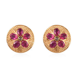 African Ruby and Natural Cambodian Zircon Floral Stud Earrings (with Push Back) in 14K Gold Overlay