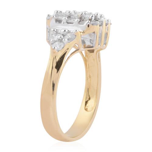 9K Yellow Gold Natural White Diamond Ring 0.74 ct, Gold Wt. 4.60 Gms